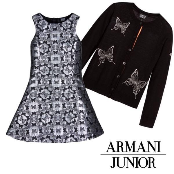 ARMANI JUNIOR Girls Silver & Black Butterfly Dress & Black Butterfly Cardigan