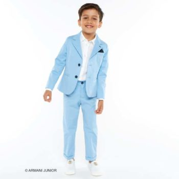 Armani Junior Boys Pale Boys Suit & White Linen Logo Shirt