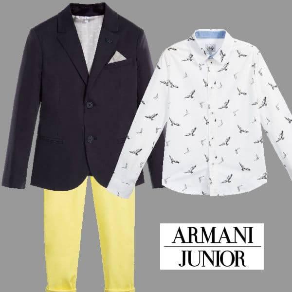 Armani Boys Blue Linen Blazer Yellow Pants White Eagle Shirt
