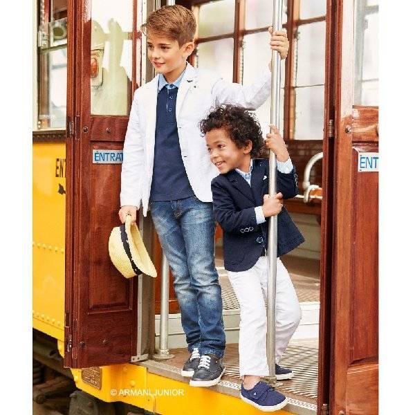 Armani Junior Noys Navy Blazer & White Cotton Pants