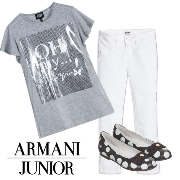 Armani Teen Girls Grey Silver Print Oh My...Giorgio T-Shirt White Jeans Polkadot Shoes