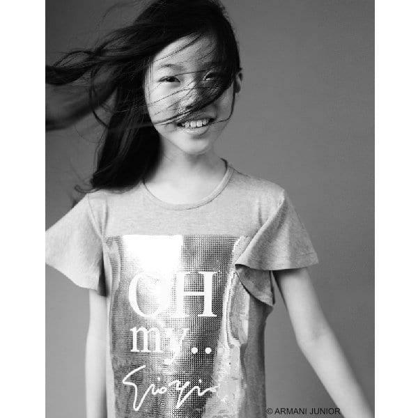 Armani Teen Girls Grey Silver Print Oh My...Giorgio T-Shirt White Jeans Polkadot Shoes
