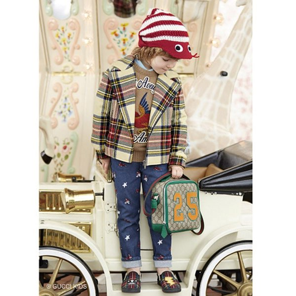 Boys-GUCCI-Beige-Cashmere-Sweater-with-Bird-Applique-Tartan-Coat-Embroidered-Jeans