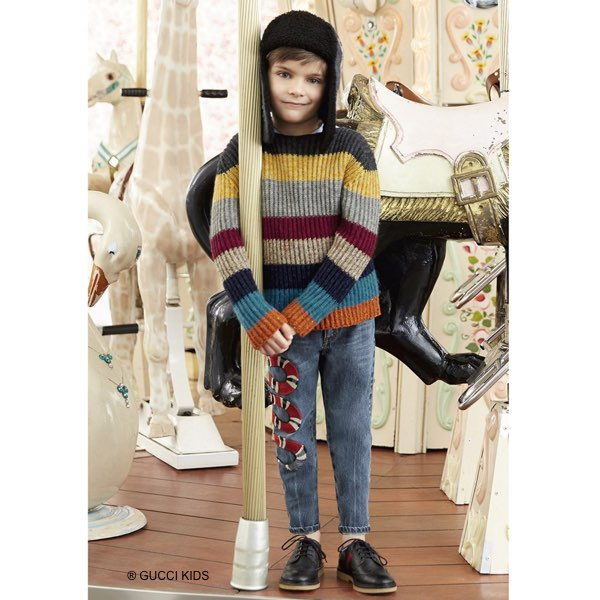 GUCCI Boys Colorful Striped Sweater and Snake Embroidered Jeans