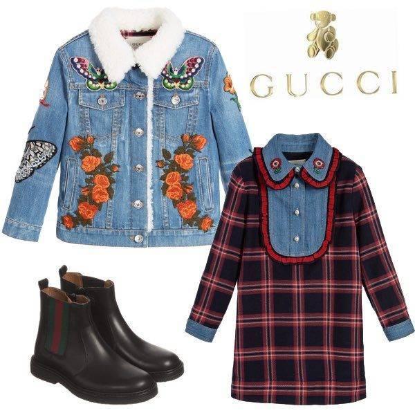 GUCCI Girls Embroidered Denim Jacket & Red Tartan Check Dress with Blue Denim Bib