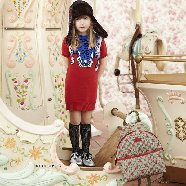 GUCCI Girls Red & Blue Merino Wool Tiger Dress and Ladybirds Backpack