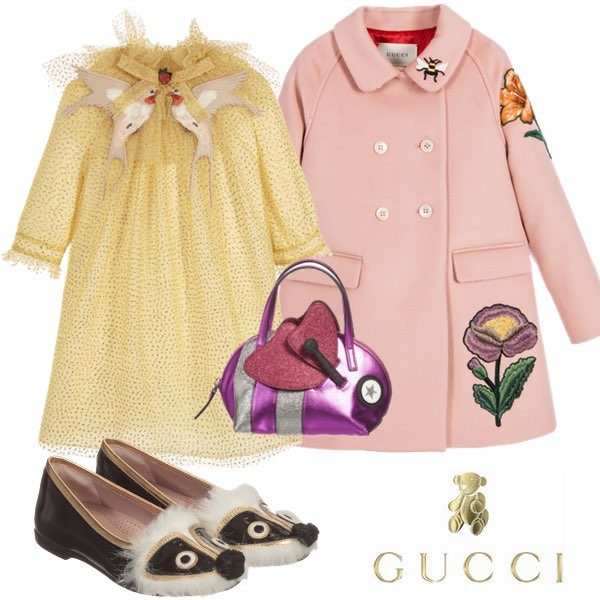 GUCCI Yellow & Gold Glitter Dress with Embroidered Collar