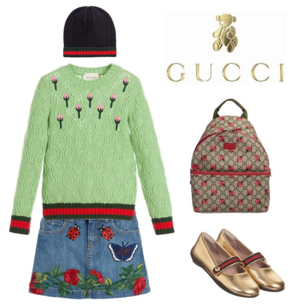 Gucci Girls Green Cashmere Flower Buds Sweater & Embroidered Blue ...