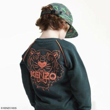Kenzo Boys Green Cotton Tiger Friends Sweatshirt, Green Orange Camouflage Hat & Jeans