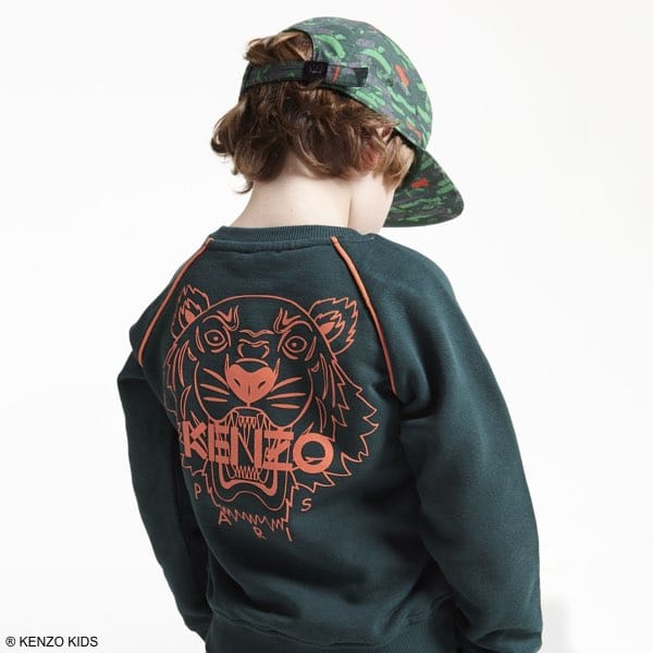 a03b69fe9 Kenzo Boys Green Cotton Tiger Friends Sweatshirt, Green Orange Camouflage  Hat & Jeans