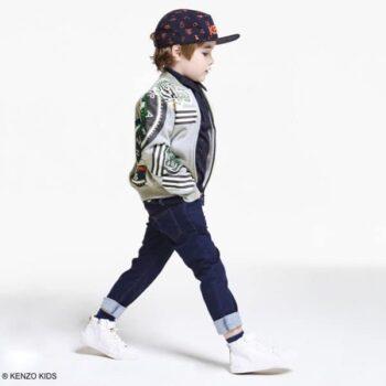 Kenzo Boys Grey Tiger Zip up Top & Black Jeans & Hat