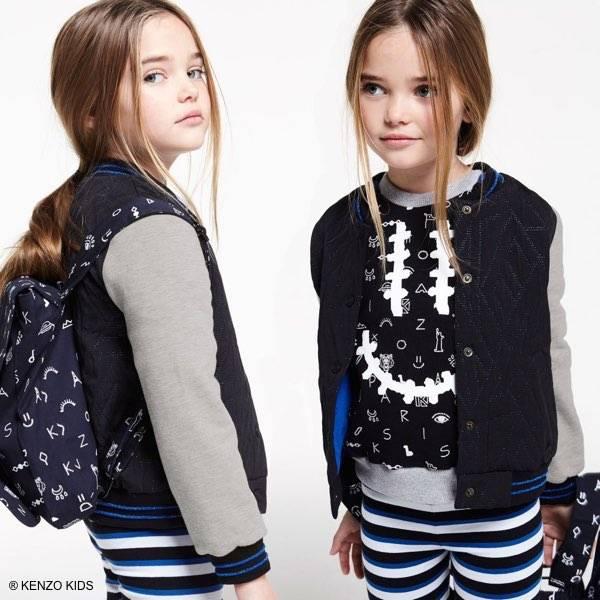 Kenzo Girls Black & Blue Respect Smile Sweatshirt & Striped Pants