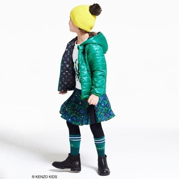 KENZO Girls Blue & Green Flower Tiger Skirt & Shirt and Reversible Jacket