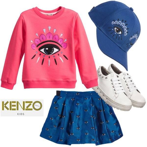 KENZO Girls Pink Cotton Eye Sweatshirt & Blue Satin Eyes Skirt & Blue Hat