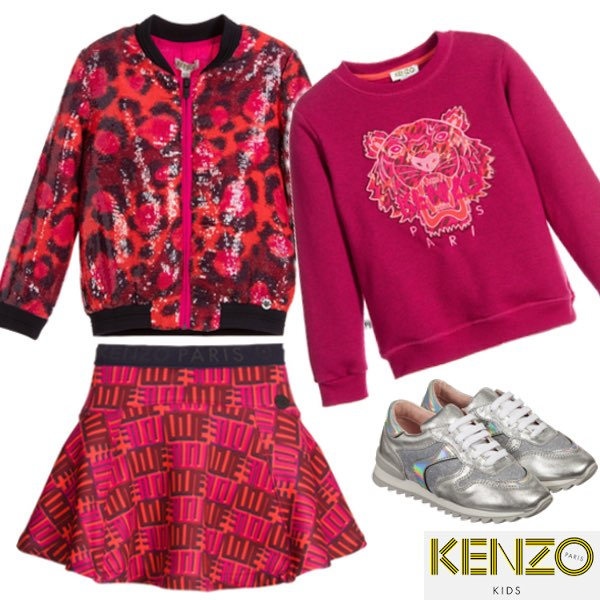 Kenzo Girls Pink Leopard Sequin Bomber Jacket and Jungle Vibes Love Skirt and Pink Logo Sweatshirt