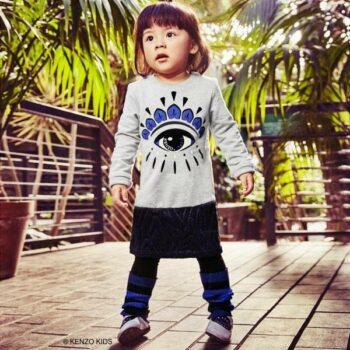 Kenzo Kids Girls Mini Me Grey Sweatshirt Dress with Eye