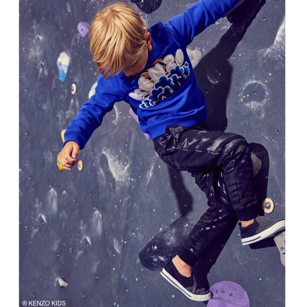 LIMITED EDITION BY KENZO Boys Blue Tiger & Embroidered Blossom Sweatshirt & Black Tiger Pants