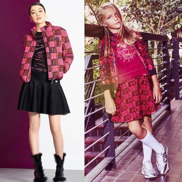 Kenzo Girls Pink Mini Me Leopard Sequin Bomber Jacket & Jungle Vibes Love Skirt