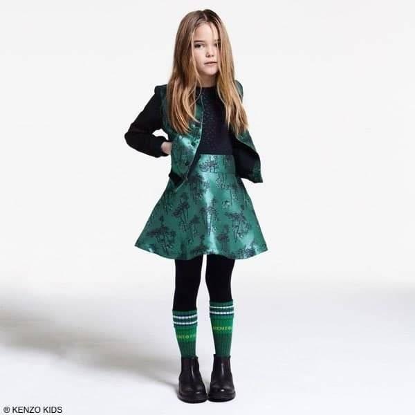 Kenzo Kids Girls Flower Tiger Green & Black Satin Jacket & Skirt