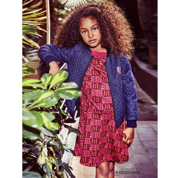Kenzo Pink Orange Jungle Vibes Love Dress & Blue Quilted Denim Jacket