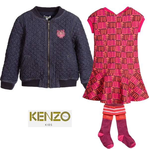 Kenzo Pink Orange Jungle Vibes Love Dress & Blue Quilted Denim Jacket