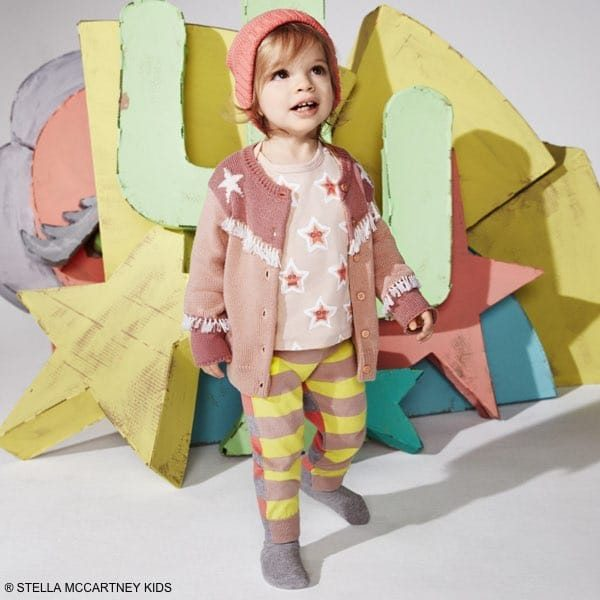 STELLA MCCARTNEY KIDS Baby Girls Pink Cotton & Cashmere 'Lennie' Cardigan & Star Shirt, Striped Pants