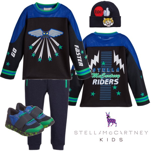 STELLA MCCARTNEY KIDS BOYS BLACK & BLUE MOTOCROSS OUTFIT