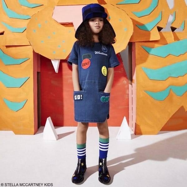 Stella Mccartney Kids Girls Blue Denim Maude Patch Dress