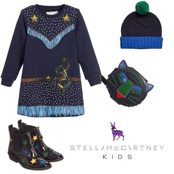 STELLA MCCARTNEY KIDS GIRLS BLUE ORGANIC COTTON COWGIRL DRESS & BOOTS
