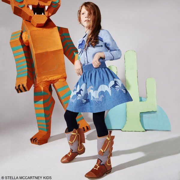 Stella McCartney Kids Girls Pale Blue Cotton Dallas Denim Shirt & Helga Skirt