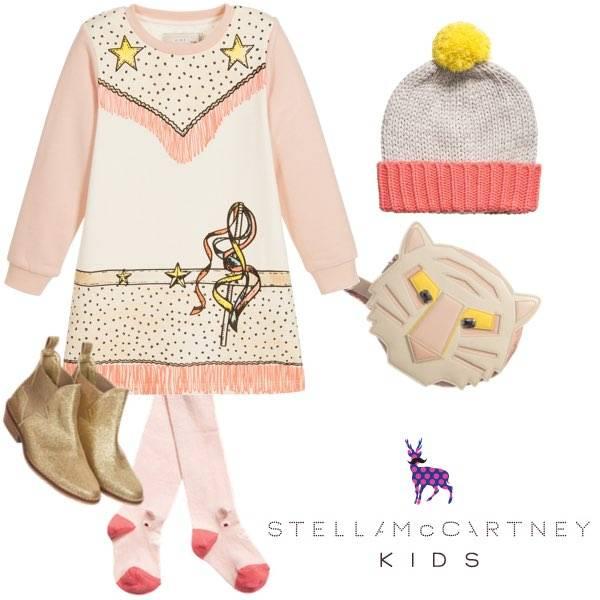 STELLA MCCARTNEY KIDS GIRLS PINK ORGANIC COTTON COWGIRL DRESS & BOOTS