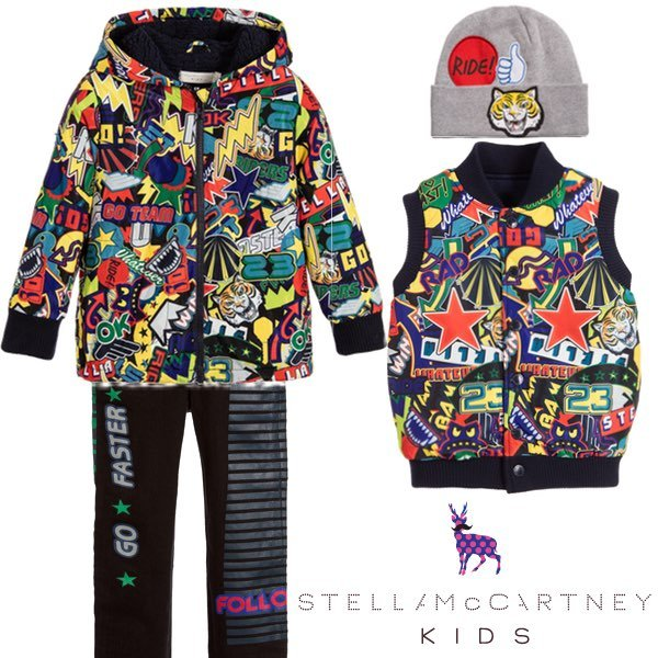 STELLA MCCARTNEY KIDS RIDE STICKER PRINT JACKET OUTFIT