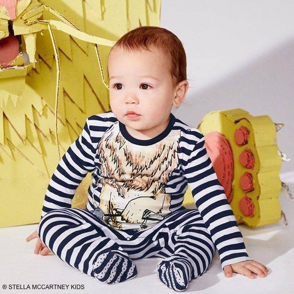 STELLA MCCARTNEY KIDS Baby Boys Blue Striped 'Twiddle' Lion Outfit