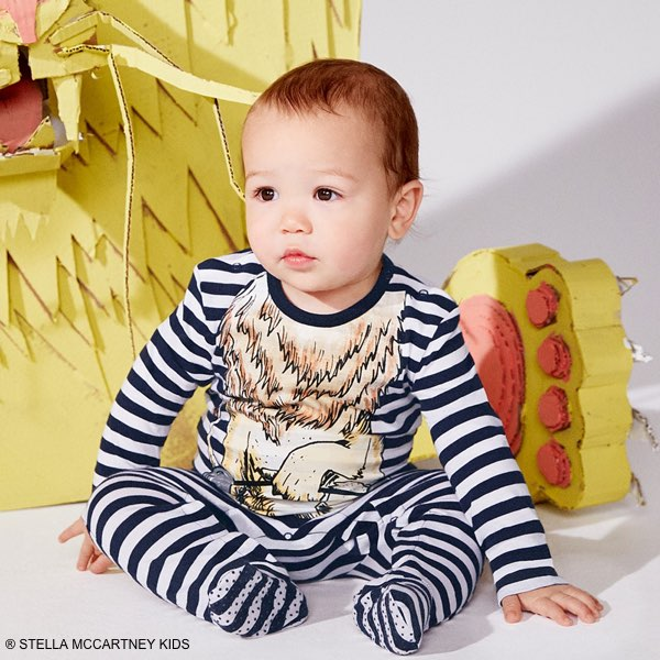 Stella Mccartney Kids Baby Boys Blue Striped Twiddle Lion Outfit