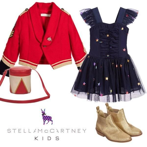 Stella McCartney Kids Girls Military Jacket & Blue Tulle Dress Gold Cowboy Boots