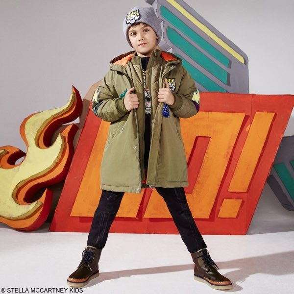STELLA MCCARTNEY KIDS Khaki Green Stan Coat