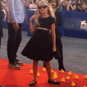 Actress Cloe Romagnoli Monnalisa Black Neoprene & Tulle Dress with Diamanté at Venice Film Festival