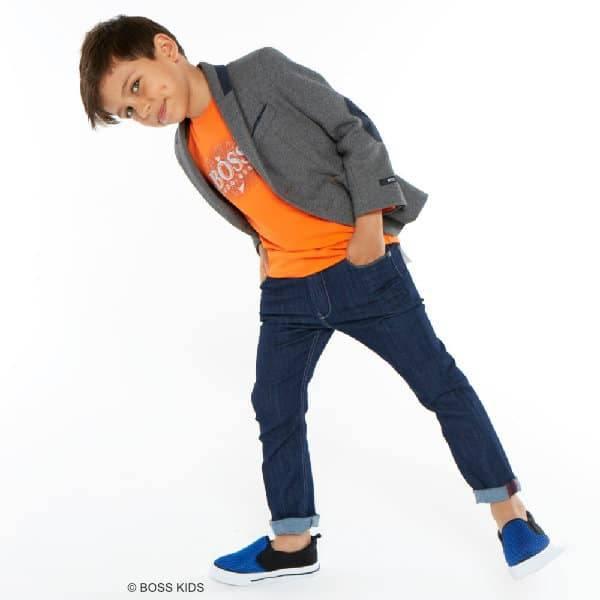 BOSS Boys Orange Cotton Logo Shirt & Grey Blazer