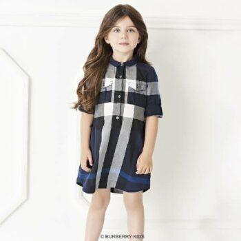 BURBERRY Girls Blue & Grey New Classic Check Shirt Dress
