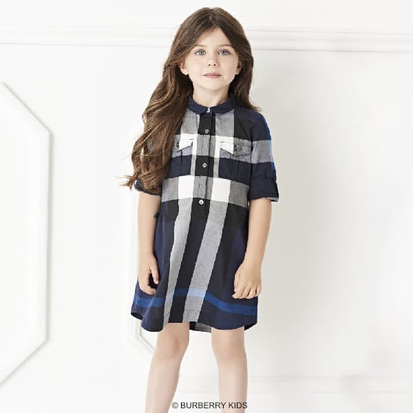 BURBERRY Girls Blue & Grey New Classic Check Shirt Dress