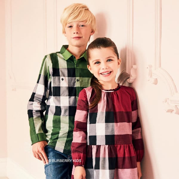 BURBERRY Boys Green & Black New Classic Check Double Pocket Shirt
