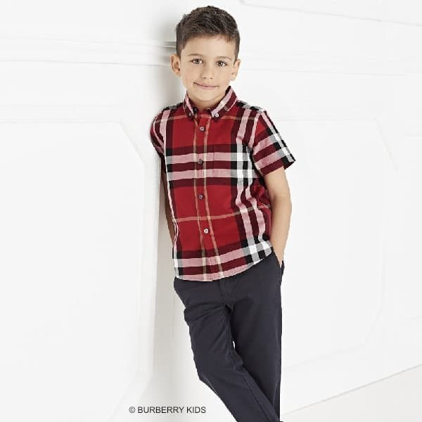 BURBERRY Boys Red Checked Cotton Shirt & Jeans
