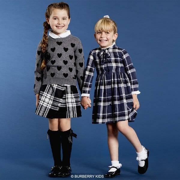 BURBERRY Girls GreyHeart Sweater & Black + White Check Kilt Skirt