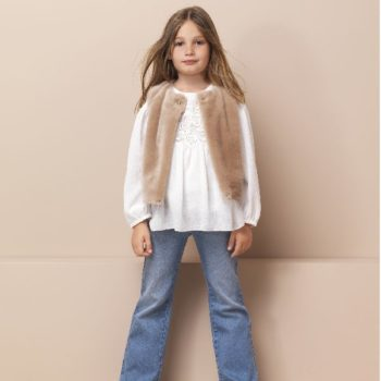 CHLOE Girls Beige Synthetic Fur Jacket