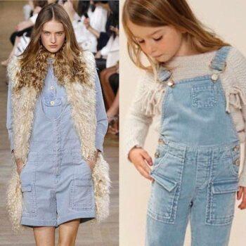 CHLOE-Girls-Mini-Me-Beige-Blue-Chunky-Knitted-Wool-Sweater-Blue-Corduroy-Overalls