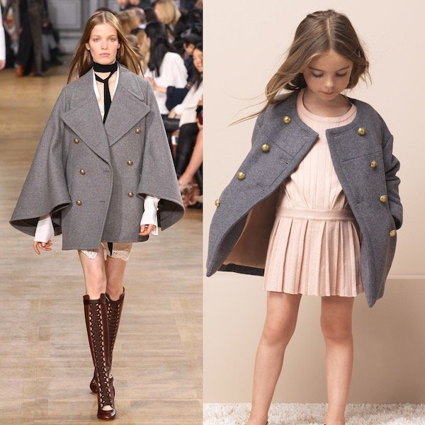 8a62477036b1 CHLOÉ Girls Mini Me Grey Wool Coat   Pink Dress