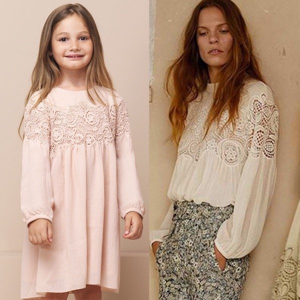 CHLOE-Girls-Mini-Me-Pink-Embroidered-Lace-Crepe-Dress