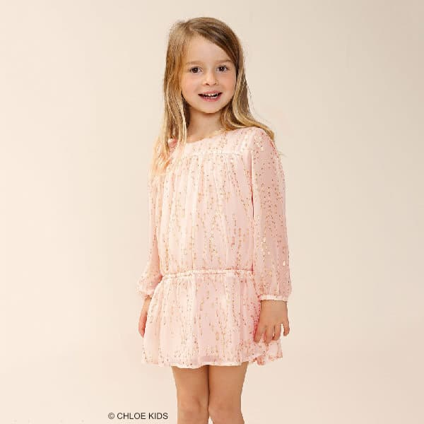 CHLOE Girls Pink & Gold Silk Dress