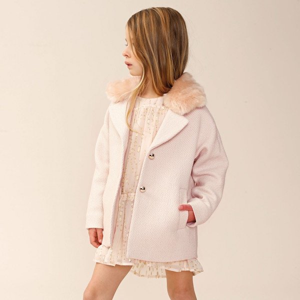 CHLOÉ Girls Pink Tweed Coat with Synthetic Fur Collar