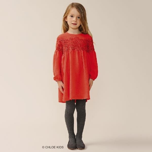 CHLOE-Girls-Red-Embroidered-Lace-Crepe-Dress